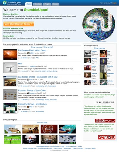StumbleUpon redesign screenshot