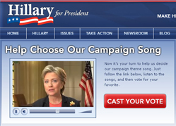hillary Clinton asks supporters to vote for official campaign theme song