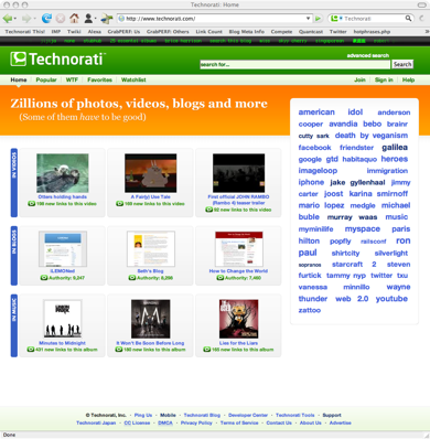 homepage tm Technorati refreshed