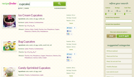 Cupcake Text Results 460x265 Recipe Search Engine Opens Up New Dimension to Cooking