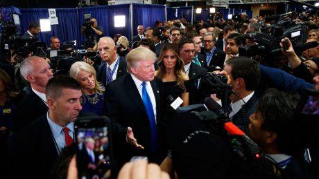 Donald Trump speaking to the media