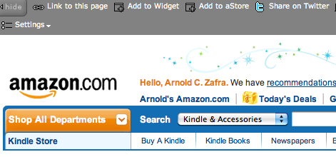 Screen shot 2009 11 04 at 7.28.41 PM Amazon Associate Launches Share on Twitter Feature, Sponsored Tweets in Sheeps Clothing?