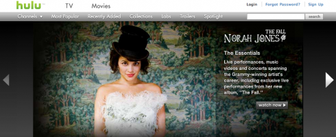 Screen shot 2009 11 19 at 3.10.51 AM 490x200 Hulu Dives into Music Videos, Kicks Off with Norah Jones