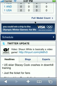 Screen shot 2010 02 13 at 8.20.10 AM 199x300 Yahoo Joins the Winter Olympics Frenzy with a New Mobile Site