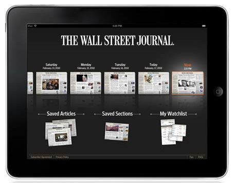 Screen shot 2010 04 03 at 5.56.26 AM Wall Street Journal Offers $17.89 Monthly Subscription for iPad Owners