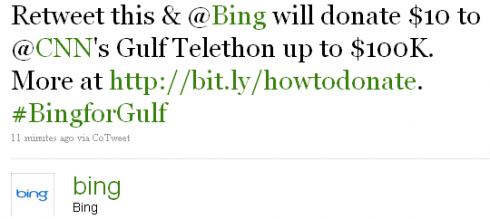bingretweetgulf 490x219 Bing To Twittersphere: Lets Save The Gulf