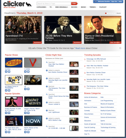 clicker 490x538 Internet TV Guide Clicker Redesigns its Homepage, Goes Full Blast with New Features