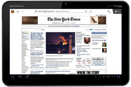 Firefox Fennec for Tablets - Honeycomb: Fullscreen internet