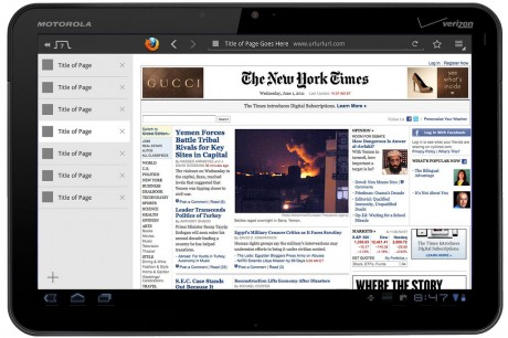 Firefox Fennec for Tablets - Honeycomb: Open Windows Left