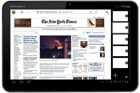 Firefox Fennec for Tablets - Honeycomb: Open Windows Right