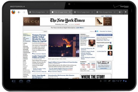 Firefox Fennec for Tablets - Honeycomb: Top Browser Tabs
