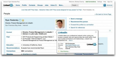 follow frm user profile 490x242 Finally LinkedIn Lets You Follow Company Profiles