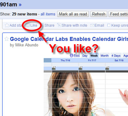 Google Reader Like Button