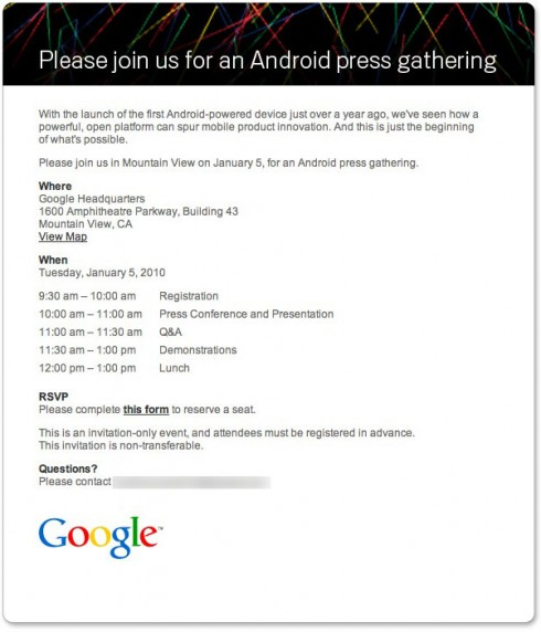 googleandroidpressinvite 490x572 Google to Hold Big Android Press Event on Jan. 5