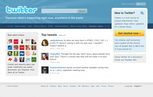 homepage screen 490x311 Twitter Tweaks its Homepage a Bit