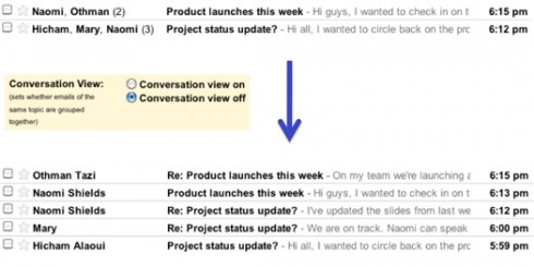 nogmailthreads 490x245 Gmail Submits To Haters, Unveils De Conversations Option